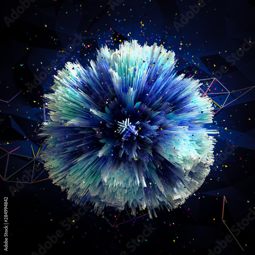 Leinwand Poster Exploding blue orb surrounded by colorful shapes and dots