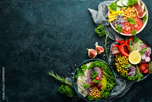 Buddha bowl. Dishes menu. Free copy space. Top view.