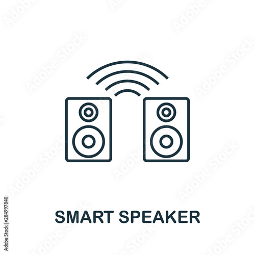 Fototapety, obrazy: Smart Speaker outline icon. Creative design from smart devices icon collection. Premium smart speaker outline icon. For web design, apps, software and printing.