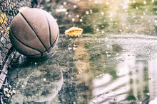 Abandoned Basketball On A Outd...