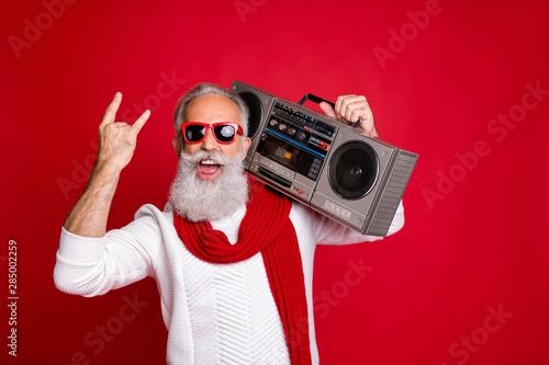 Fototapeta Rock chritmastime Portrait of crazy santa in eyeglasses eyewear screaming showin