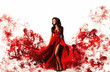 canvas print picture - gorgeous woman in a fantasy red dress like a smoke. Studio picture, white background