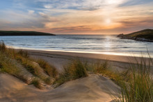 Sunlight Over Dunes, Crantock Beach, On The Beautiful North Cornwall Coast.