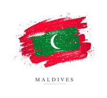 Flag Of The Maldives In The Sh...