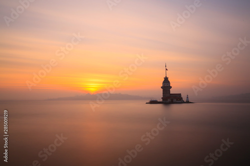 Canvas Prints Ship Maiden's Tower and Sunset