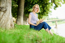 Interesting Story. Relax And Get New Information. Inspired By Novel Author. Student Girl With Book Outdoor. Woman In Park Reading Book. Reading Is My Hobby. Summer Study. Fiction Book