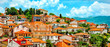 Leinwanddruck Bild - North macedonia. Ohrid. Different buildings and houses with red roofs on hill