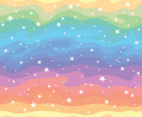 Seamless pattern with abstract rainbow gemstone lines and stars