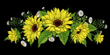 Sunflowers And Wild Flowers. Flower Garland.