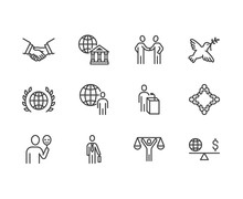 Diplomacy Flat Line Icons Set....