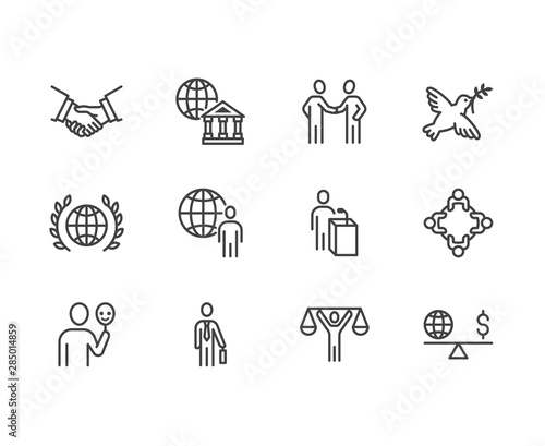 Fotomural Diplomacy flat line icons set