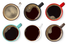 Set Of Various Colorful Cups Of Black Coffee