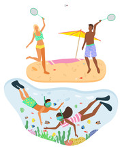 Couple Wearing Swimming Suits And Playing Badminton On Summer Beach. Man And Woman In Swimming Goggles Snorkeling In Turquoise Water. Beach And Recreation Vector. Flat Cartoon. Summertime Activity