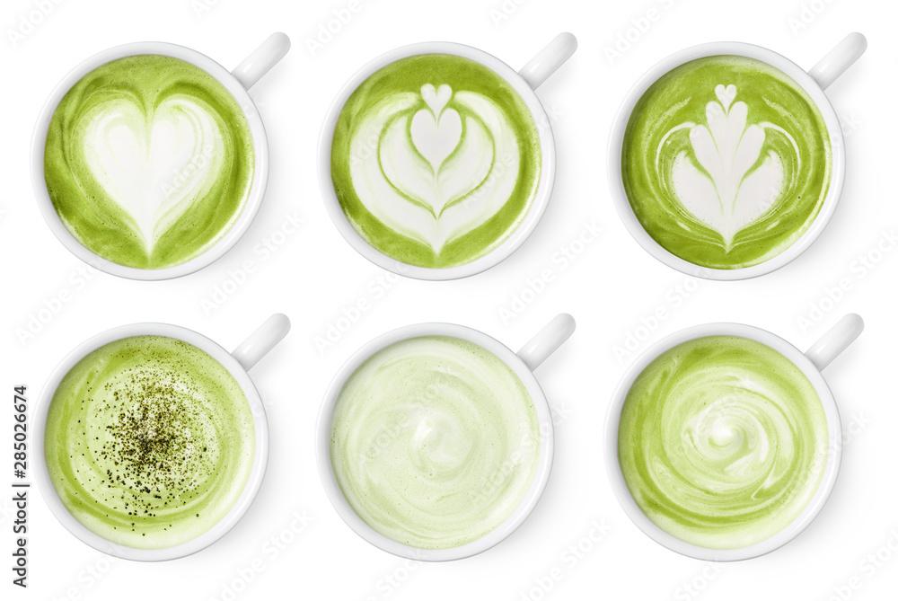 Set of green tea matcha latte foam art