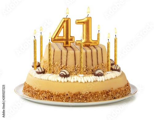 Tela Festliche Torte mit goldenen Kerzen - Nummer 41
