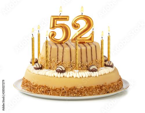 Fotomural Festliche Torte mit goldenen Kerzen - Nummer 52