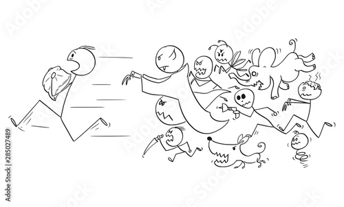 Fényképezés Vector cartoon stick figure drawing conceptual illustration of man holding a pillow running away chasing by his nightmares and dream monsters