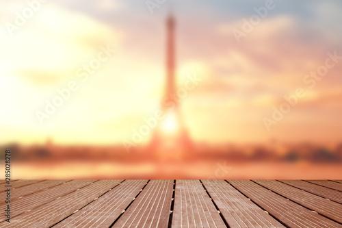 Montage in der Fensternische Paris blurred landscape of the eiffel tower with wooden terrace