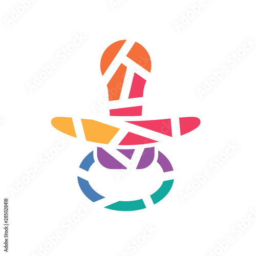 collorful geometric baby pacifier, soother icon- vector illustration Tapéta, Fotótapéta