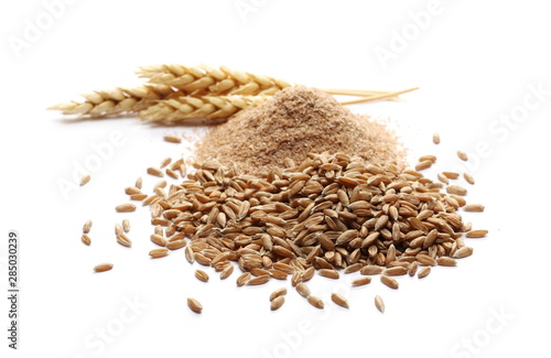 Spelt bran and grains with ears of wheat isolated on white background