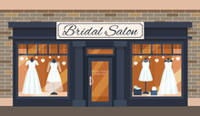 Vintage Wedding Shop Store Facade With Large Window, Columns