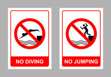 No Diving And No Jumping Sign ...
