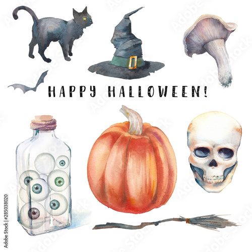 Printed kitchen splashbacks Watercolor skull Watercolor Halloween set. Hand drawn holiday icons isolated on white background. Toadstool, party balloons, skull, pumpkin, witch hat, broom, black cat and bottle with eyes