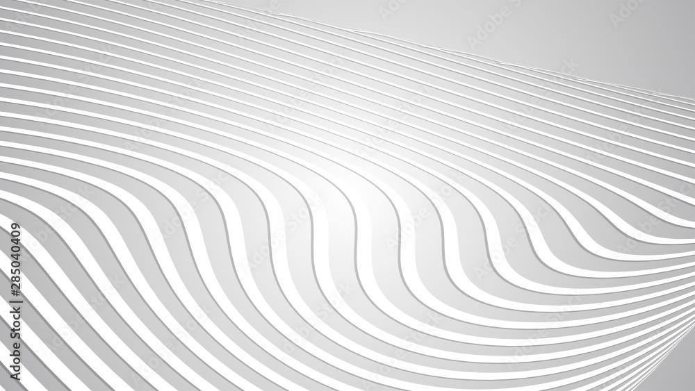 Fototapety, obrazy: Abstract White Wavy Lines Background Texture with White and Grey Gradient Backdrop Abstract Pattern Vector illustration