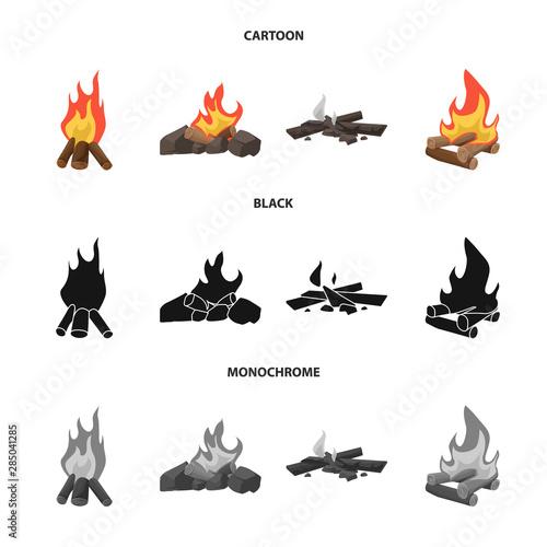 Printed kitchen splashbacks Illustrations Vector illustration of danger and tourism symbol. Set of danger and hiking stock symbol for web.