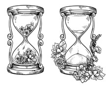 Flower; Concept; Decorative; Rose; Design; Ink; Sand Glass; Sand Clock; Hour Glass; Counting; Second; Sandglass; Retro; Antique; Process; History; Time; Old; Graphic; Traditional; Vintage; Flow; Count