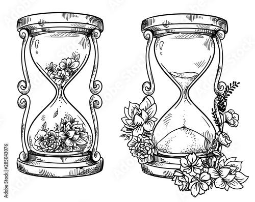 Fotografija flower; concept; decorative; rose; design; ink; sand glass; sand clock; hour gla