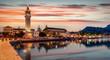canvas print picture - Die Stadt und der alte Fischerhafen am Abend auf der Insel Zakynthos im Ionischen Meer, Griechenland