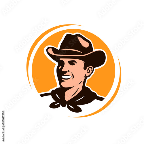 Fotomural American cowboy in a hat. Logo or emblem vector illustration