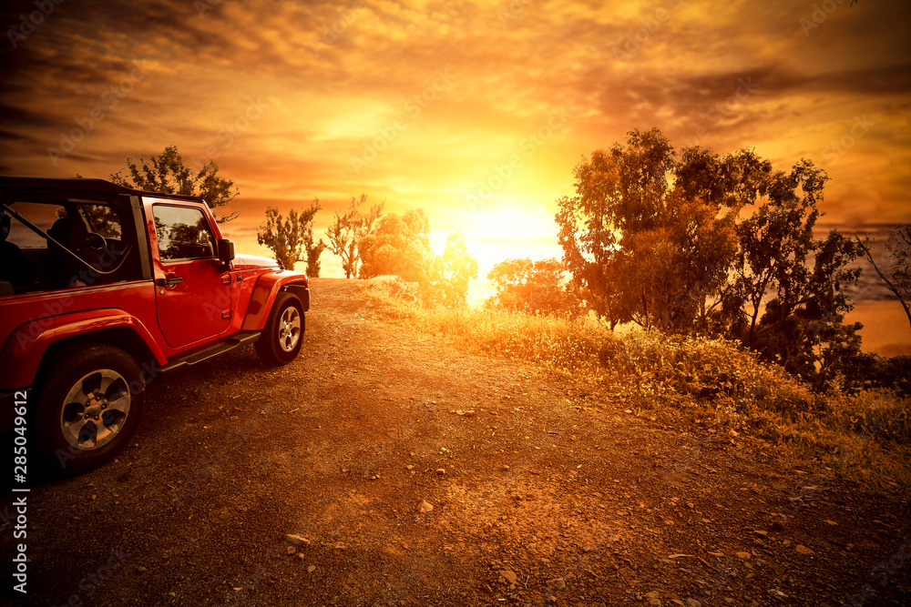 Autumn car and sunset time