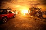 Autumn car and sunset time  - 285049612
