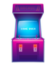 Arcade Machine. Retro Arcade Game Machine. Isolated Vector Illustration