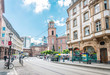 Frankfurt, Germany - June 12, 2019: Street view of Downtown Frankfurt, Germany.