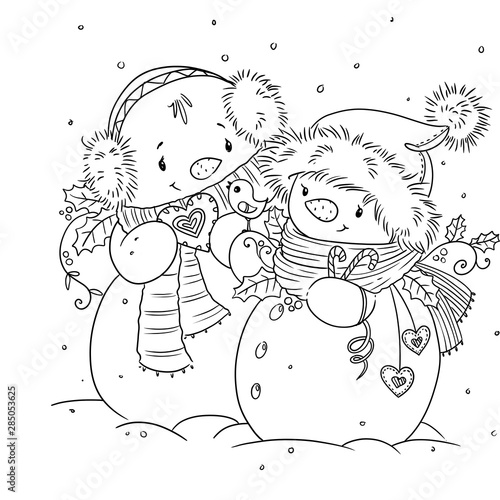 Outlined happy smiling snowman. Cute illustration coloring page. Digital stamp.