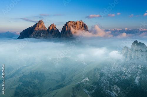 Foto op Aluminium Hoogte schaal Aerial view of Grohmann spitze, Dolomites, Italy