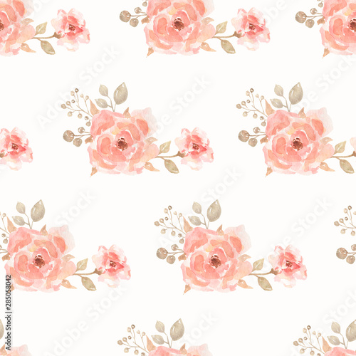 Photo sur Toile Fleurs Vintage Watercolor Seamless flower bouquets pattern. Beautiful pattern for design. Trendy print.Peonies and roses bouquet seamless pattern. Watercolor painting.