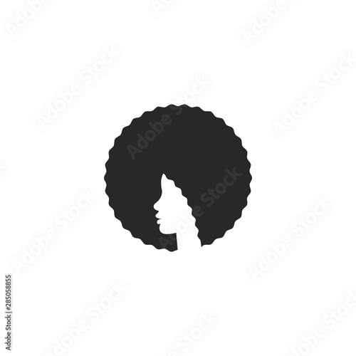 Head African American girl with afro logo hairstyle, elegant emblem for a beauty Wallpaper Mural