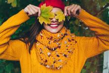 Autumn Woman In Autumn Park. W...