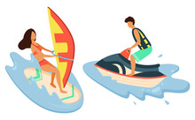 Water Bike And Girl Surfboarder Isolated Summer Sport Recreations. Vector Beach Activities, Man And Woman Isolated Surfer On Board, Sea Or Ocean Water Splashes. Flat Cartoon. Summertime Activity
