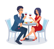 Couple On A Date Sit Together At The Table With Food, Raise Their Glasses, Look At Each Other.