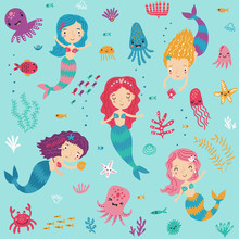 Seamless Pattern With Mermaids...