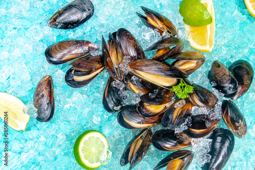 Valokuva  raw open leaves of sea river mussels, blue sea ice on the ice, slices of lemon a