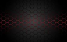 Abstract Red Light Hexagon Line In Grey Modern Luxury Futuristic Background Vector Illustration.