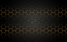 Abstract Yellow Light Hexagon Line In Grey Modern Luxury Futuristic Background Vector Illustration.