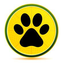 Animal Paw Print Icon Lemon Lime Yellow Round Button Illustration