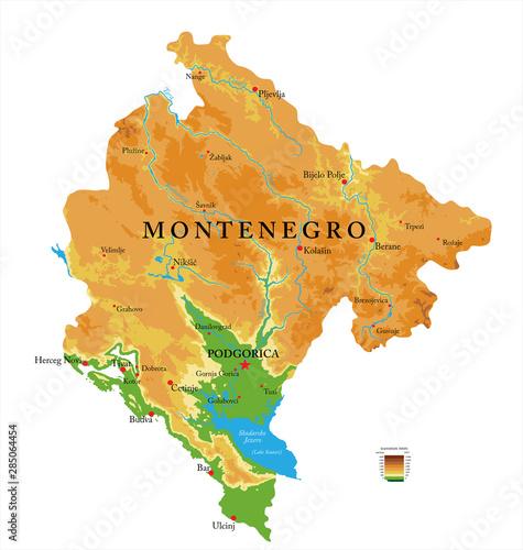 Fotografie, Obraz  Montenegro physical map